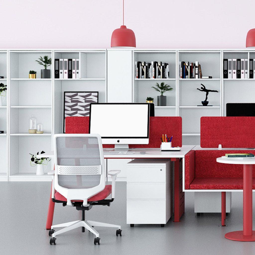 Office Furniture Workstation Pink
