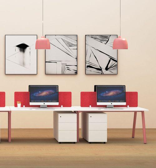 desking workstation pink