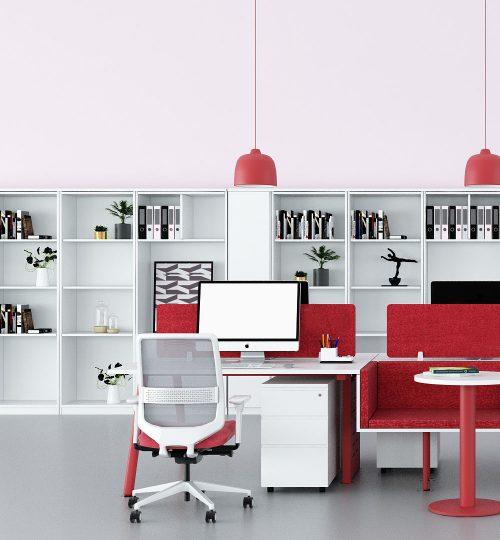 red workstation desking